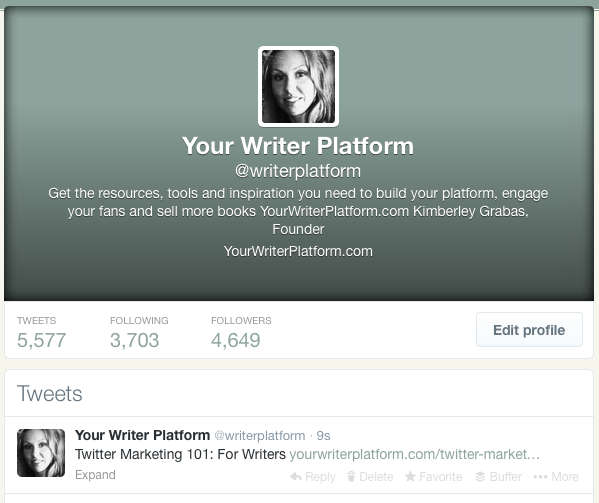 Twitter Profile | YourWriterPlatform