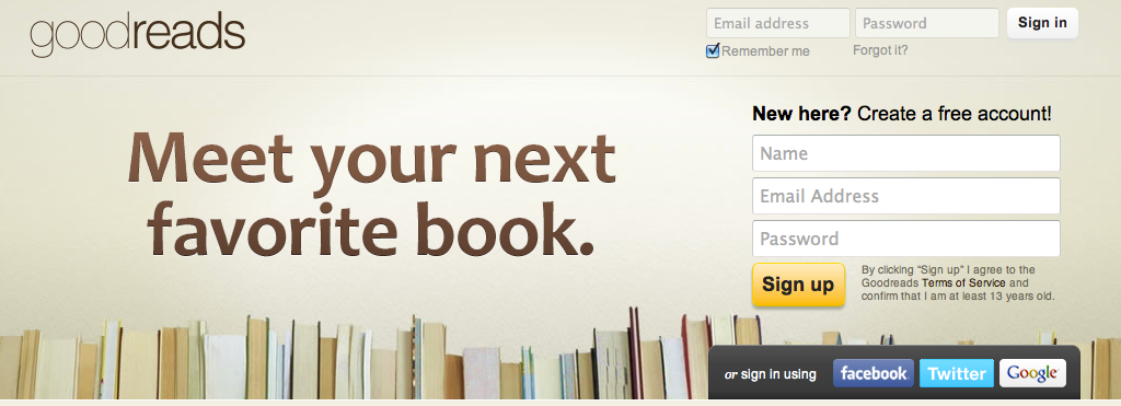 Goodreads sign up