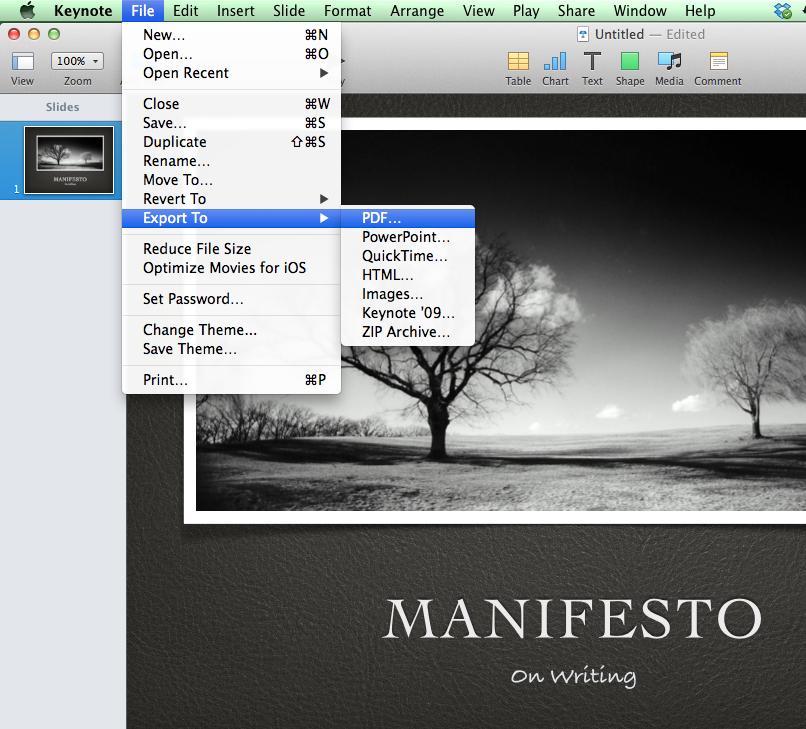 Screen Shot Keynote Export to PDF