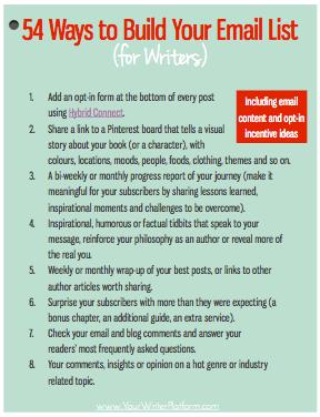 54 Ways to Build Your Email List (Graphic) | YourWriterPlatform.com